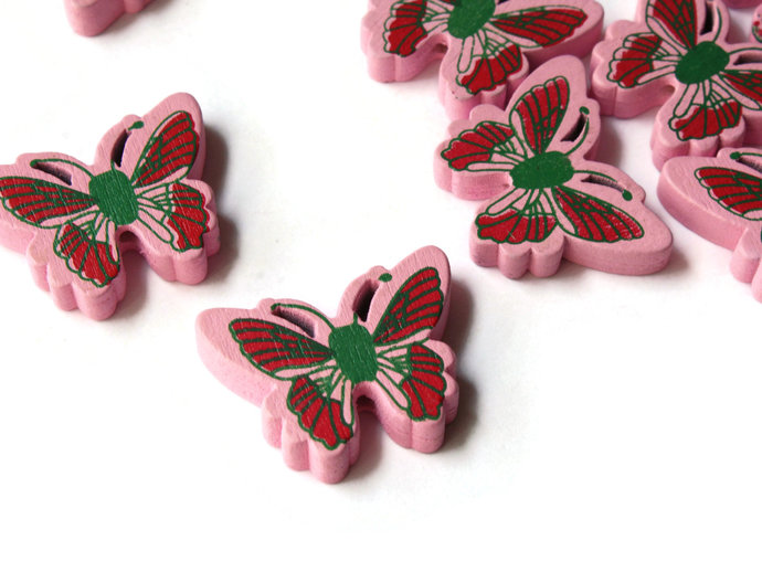 12 26mm Pink Wooden Butterfly Beads Animal Beads Wood Beads Moth Beads Cute