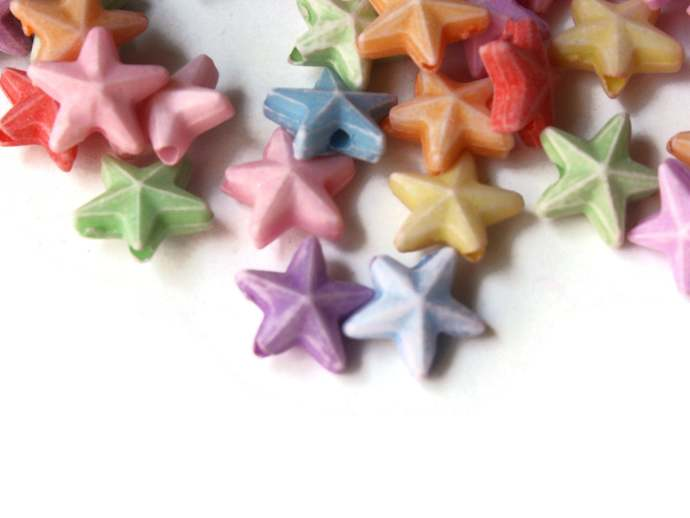 100 10mm Mixed Colors Star Plastic Beads Loose Miniature Celestial Beads Jewelry