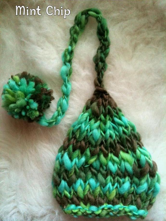 Newborn Woolly  Elf/Pixie Hat -Mint Chip