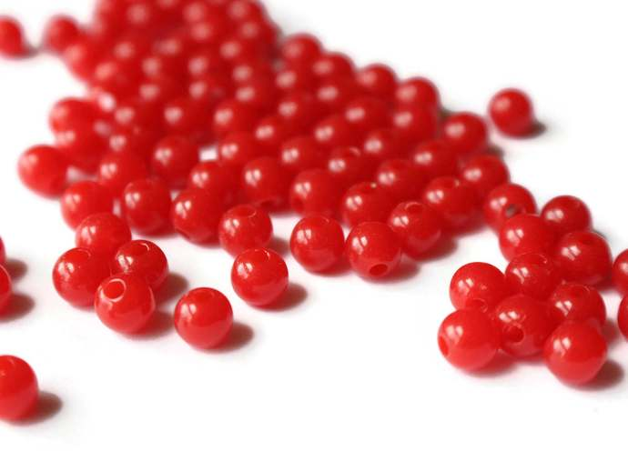 100 6mm Red Beads Smooth Round Beads Plastic Beads Bright Acrylic Ball Spacer