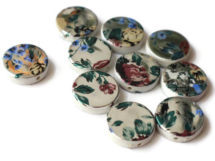 10 19mm Beads Printed Beads Flower Beads Acrylic Beads Silver Beads Coin Beads