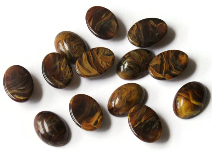 13 18mm x 13mm Brown Swirling Oval Cabochons Vintage Japanese Lucite Cabochons
