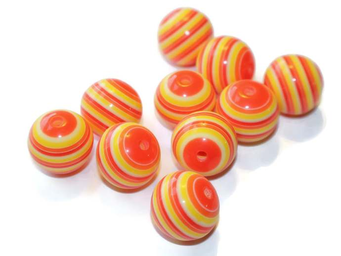 10 20mm Red, Yellow, and Orange Striped Resin Beads Big Loose Beads Craft