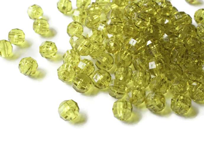 100 6mm Green Beads Faceted Round Beads Small Olive Green Beads Vintage Acrylic