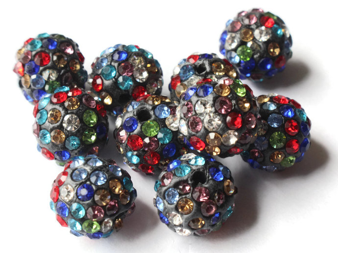 12mm Mixed Color Rainbow Rhinestone Beads Round Polymer Clay Sparkle Beads