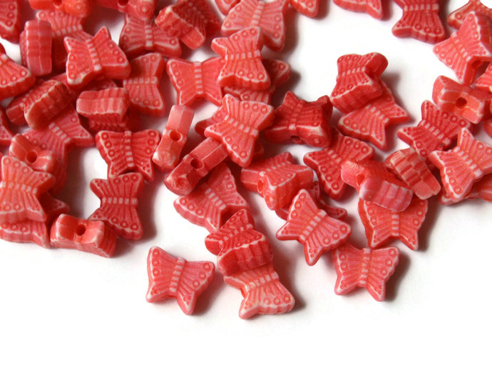 100 Red Butterfly Beads Plastic Butterflies Small Beads Moth Beads Animal Beads