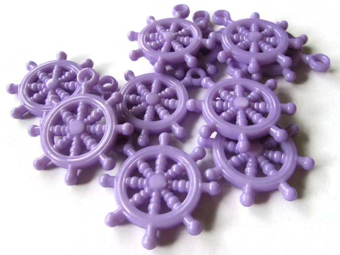 10 Lavender Purple Bead Ship Helm Charm Ship Wheel Bead Plastic Beads Pirate