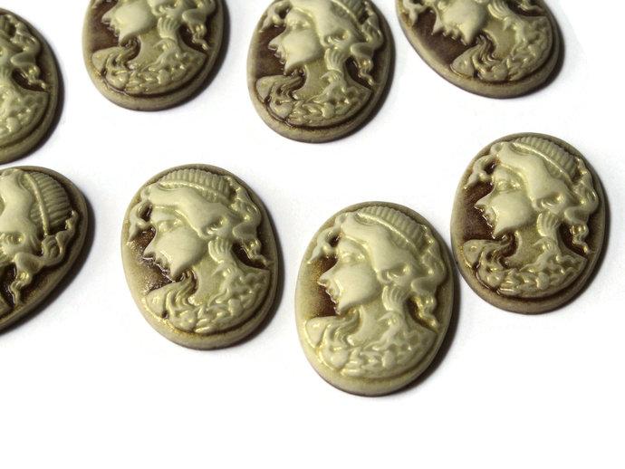10 25mm x 18mm Brown Cameo Cabochons Woman Face Cameo Cabs Resin Cabochons