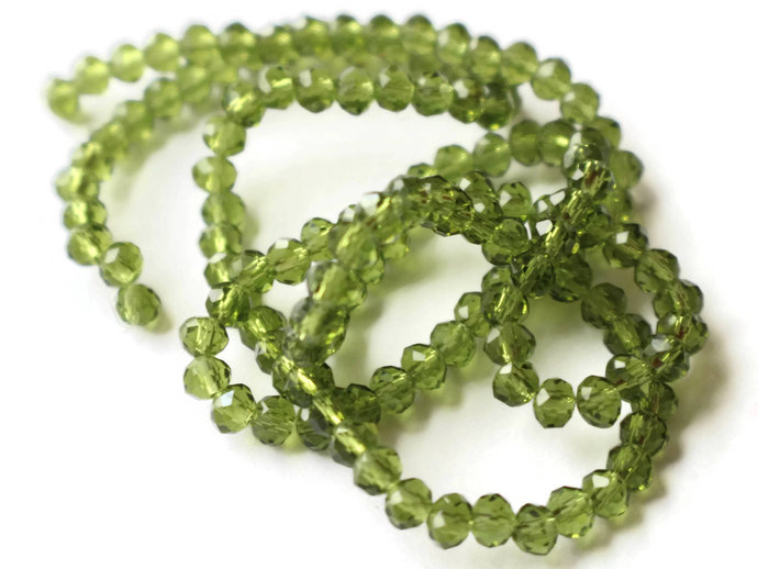 135 3mm x 4mm Green Crystal Beads Faceted Rondelle Beads Full Strand Abacus