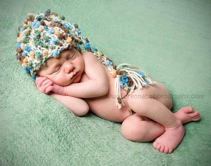 Newborn Woolly  Elf/Pixie Hat - Candied Popcorn n Cream