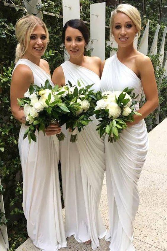white wedding party dresses one shoulder bridesmaid dresses long elegant cheap