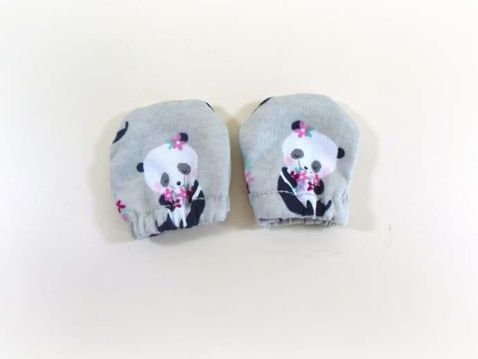 Panda Infant Scratch Mittens, Panda Baby Mittens, Panda No Scratch Mittens, Gray
