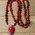 Jewel tone Nirvana Long Beaded Necklace with Pendant Hand knot Jewellery by