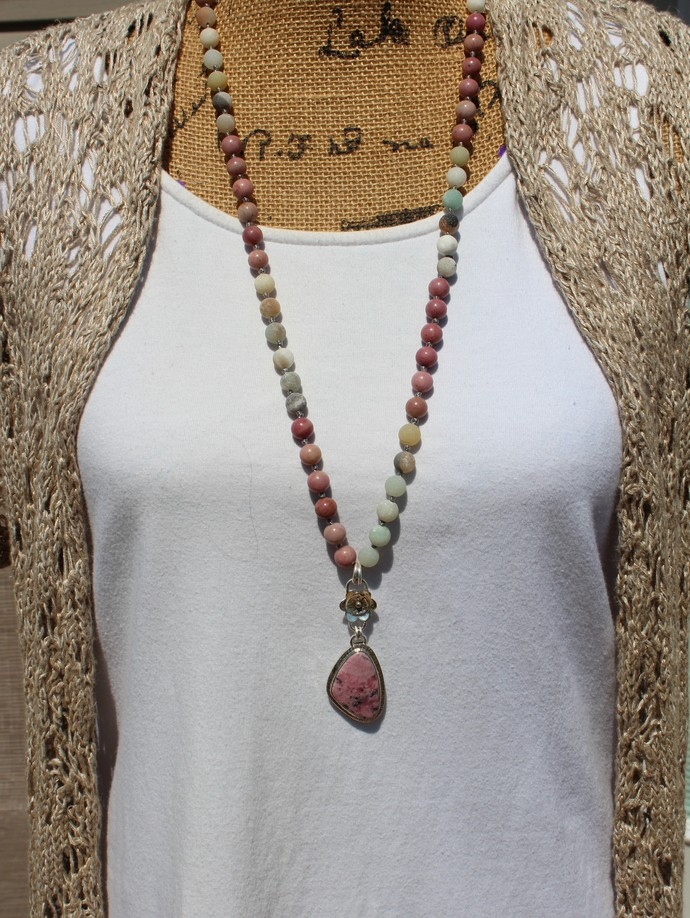 Pink Rhodonite Long Beaded Necklace with pendant Hand Tied Jewelry by KnottedUp