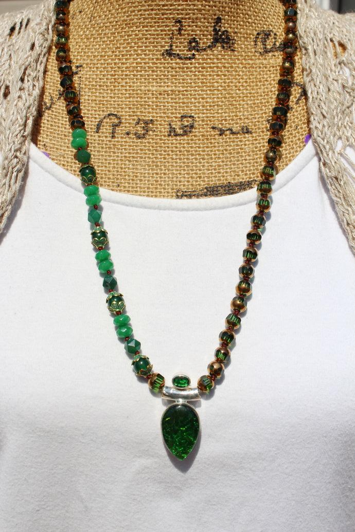 Deep Green Jewel tone Long beaded Necklace with Australian Triplet Fire Opal