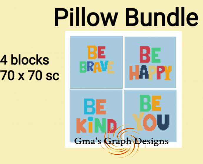 Be Brave, Be Happy, Be Kind and Be You pillow set
