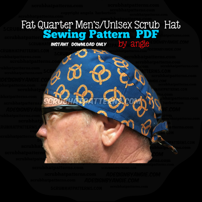 Fat Quarter Men's Unisex Printable Scrub Hat Sewing Pattern
