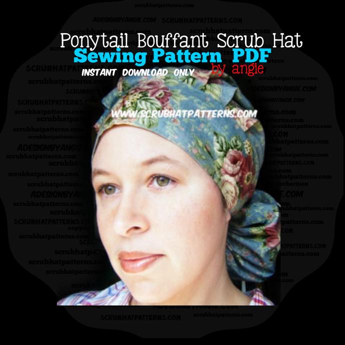 Ponytail Bouffant Printable Scrub Hat Sewing Pattern Instructions diy