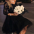 Lace Long Sleeve V-neck Little Black Dress, Short/Mini Party Dress