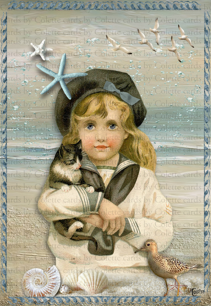 Sailor Girl and Her Kitten Digital Collage Greeting Card2748