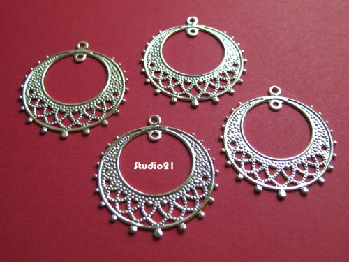 4 pcs Bright Silver Finish Round 1-to-1 Connector