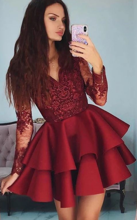 burgundy Short Homecoming Dresses Short Prom Dress With Sleeves