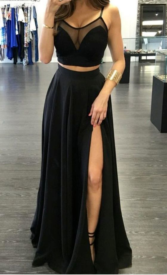 Black High Slit Prom Dress, Two Piece Prom Dresses, Long Evening Party Dress