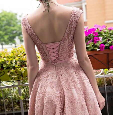 Vintage  Tea-Length Lace Short Prom Dress, Homecoming Dress