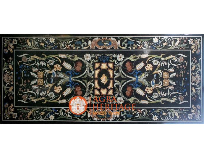 """118""""x47"""" Black Glass Marble Top Dining Room Table Handmade Marquetry Outdoor"""