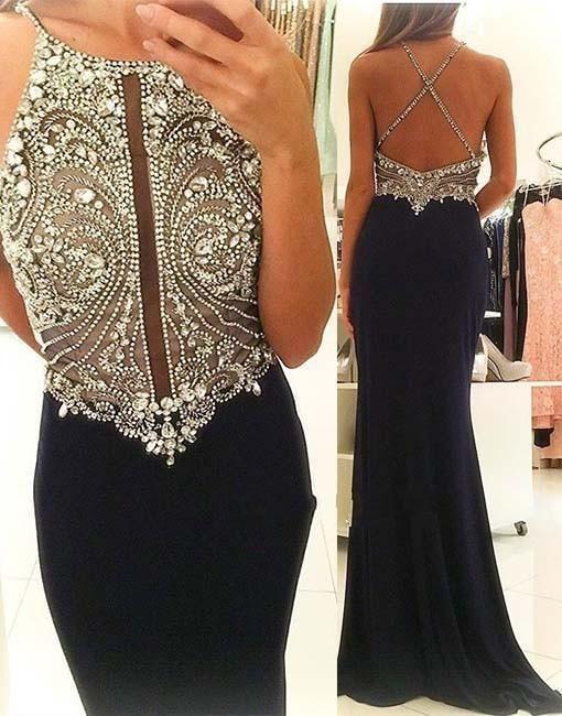halter black evening dresses long beaded mermaid elegant sexy formal dresses