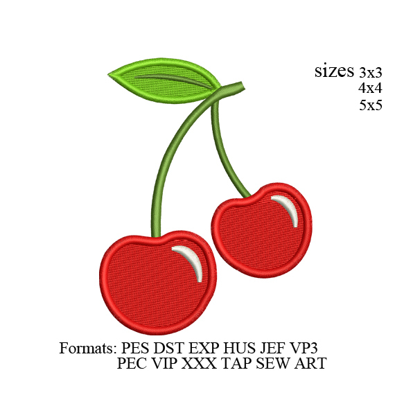 embroidery designs cherries,cherries embroidery design,fruits