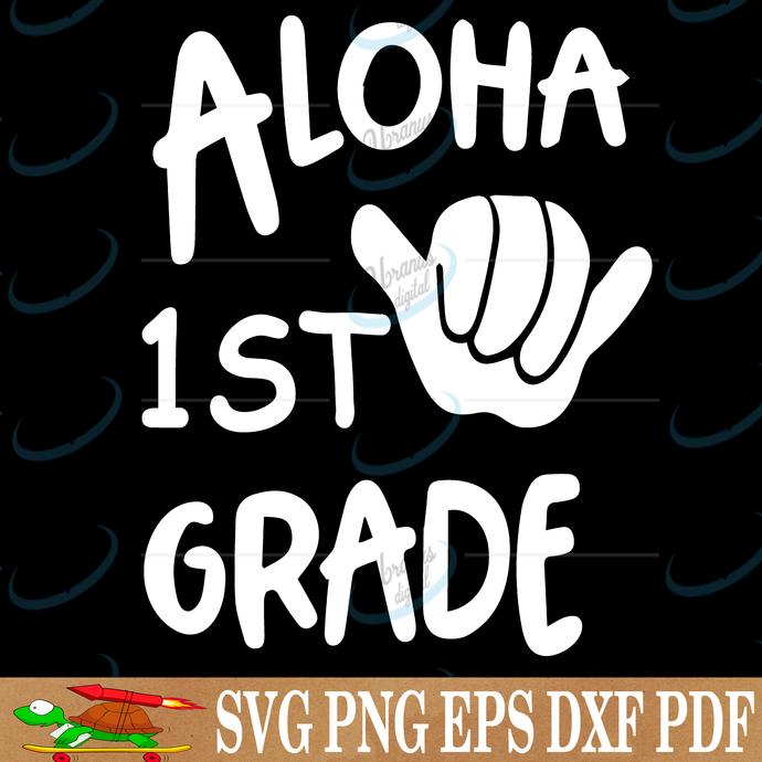 Aloha 1st grade, digital file, vinyl for cricut, svg cut files, svg clipart,