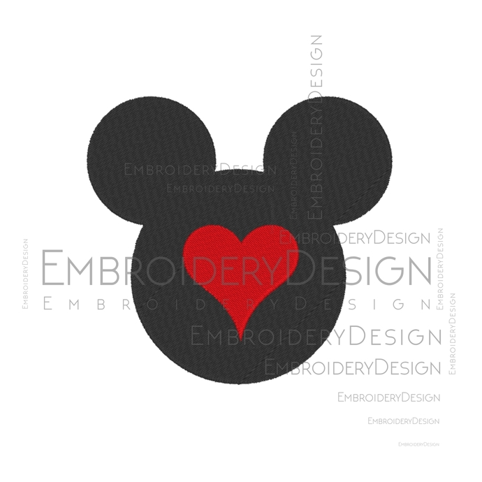 Heart with Mickey Mouse Head disney Embroidery Machine Designs Love Heart