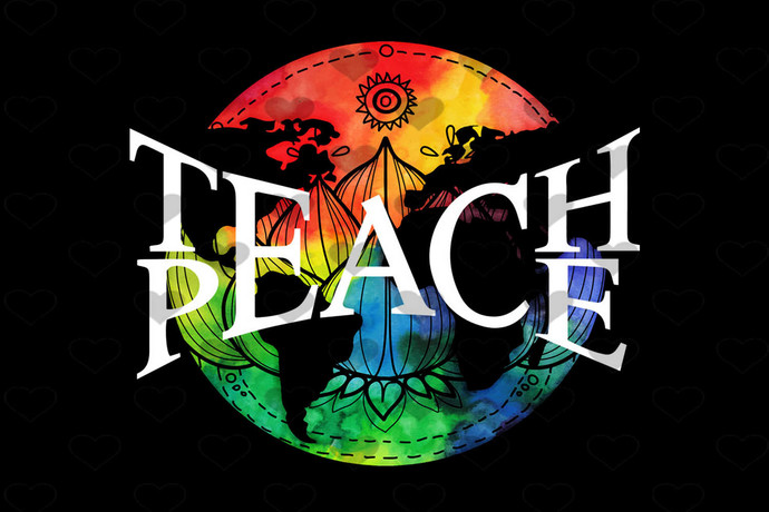 Teach Peace Hippie Symbolic Words Sign PNG