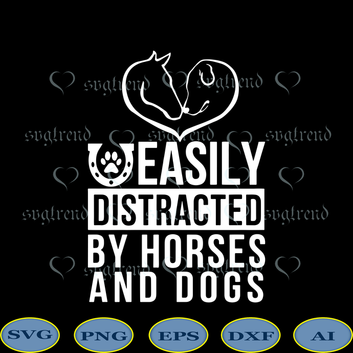 Easily Distracted By Horses And Dogs svg, Cute Love Dog Horse svg, Heart Shape