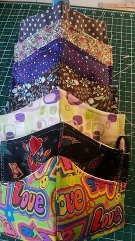 ASSORTED PRINTS-5 piece bamboo lined mask package