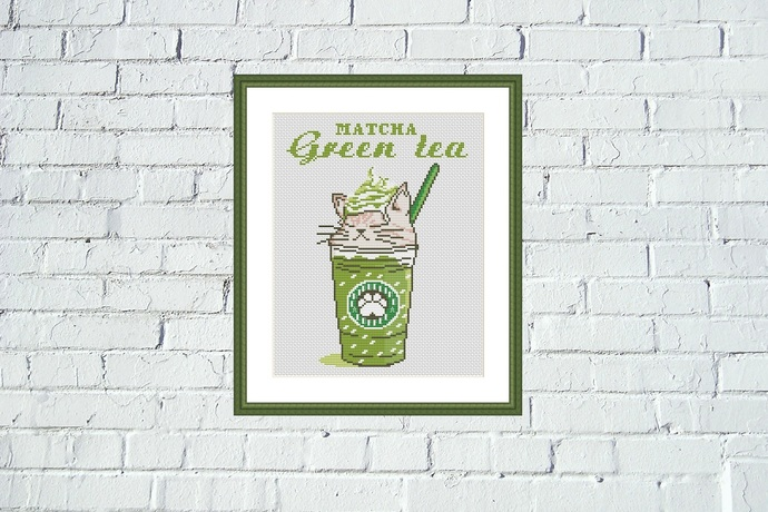 Matcha green tea cat cross stitch pattern Funny cat coffee embroidery