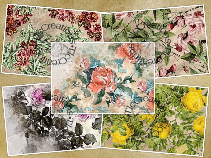 English Cottage Garden Printable Vintage Papers Scrapbook