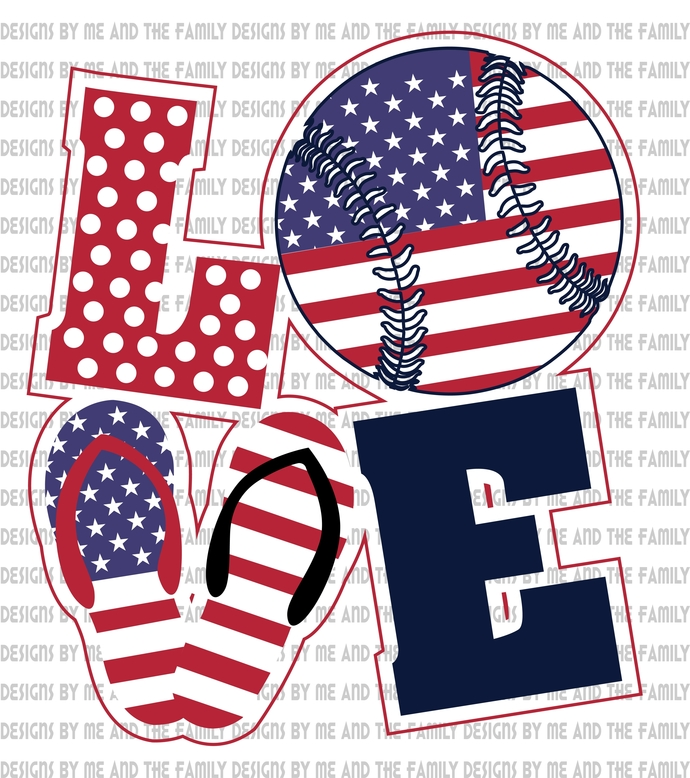 Love America baseball, flip flops, summertime, peace love soft ball, peace love
