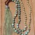 Long Hand Tied Turquoise Beaded Necklace with Beaded Tassel Bohemian Style
