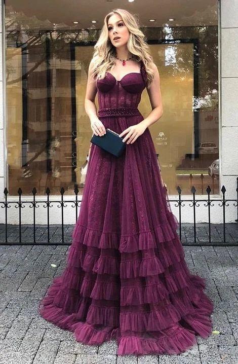 Long Prom Dress , Tulle Dance Dresses, Graduation School Party Gown M803