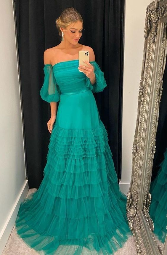 Off the shoulder tulle long prom dress  M806