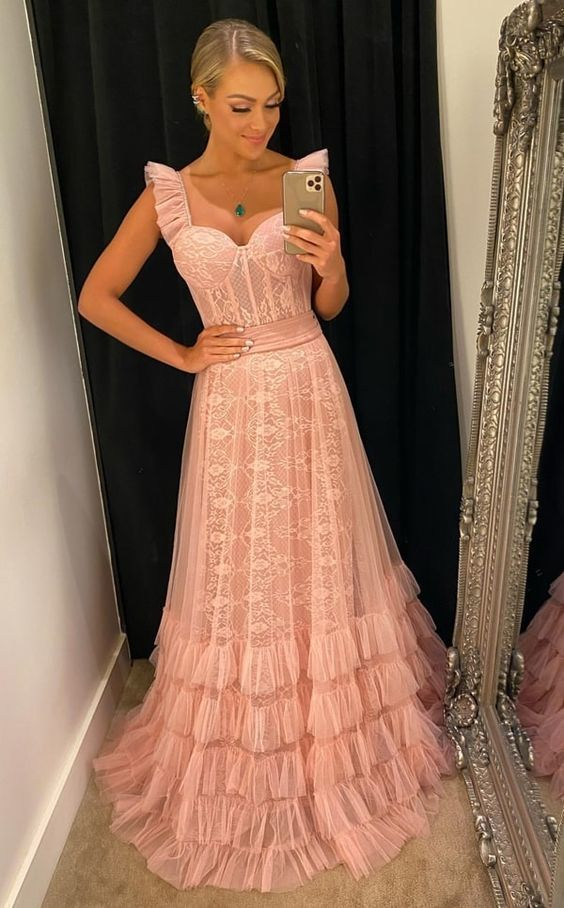 Charming tulle long prom dress,pink prom dress  M807