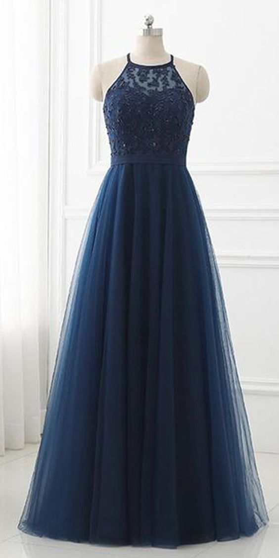 Navy Blue Lace High Neck Tulle Long Prom Dress Evening Dresses M811