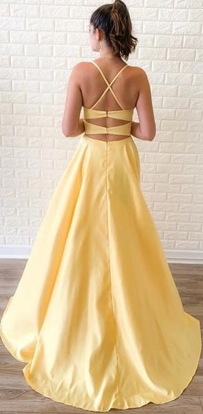Criss Cross A-Line Yellow Long Prom Dress with Slit  M817