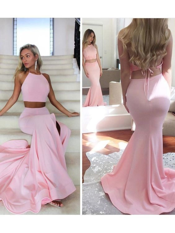 Chic Two Pieces Prom Dresses Long Mermaid Pink Cheap Long Prom Dress M823