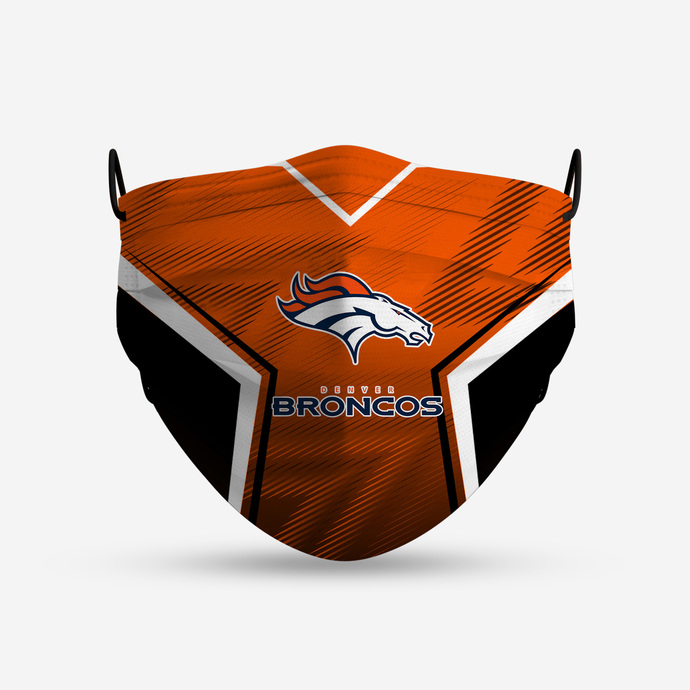 Denver Broncos face mask, football, face protection, four layers, pleated,