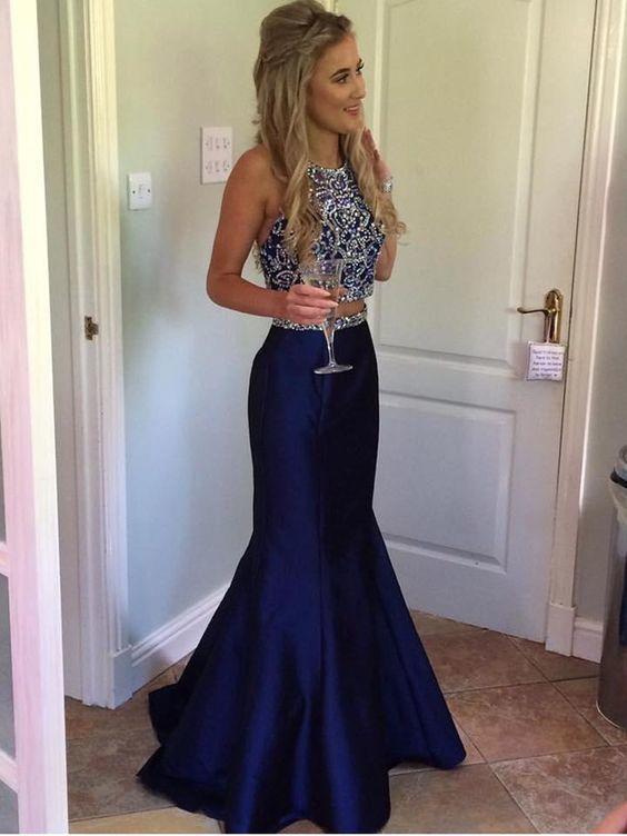 Two Pieces Prom Dresses Mermaid Royal Blue Long Prom Dress M826