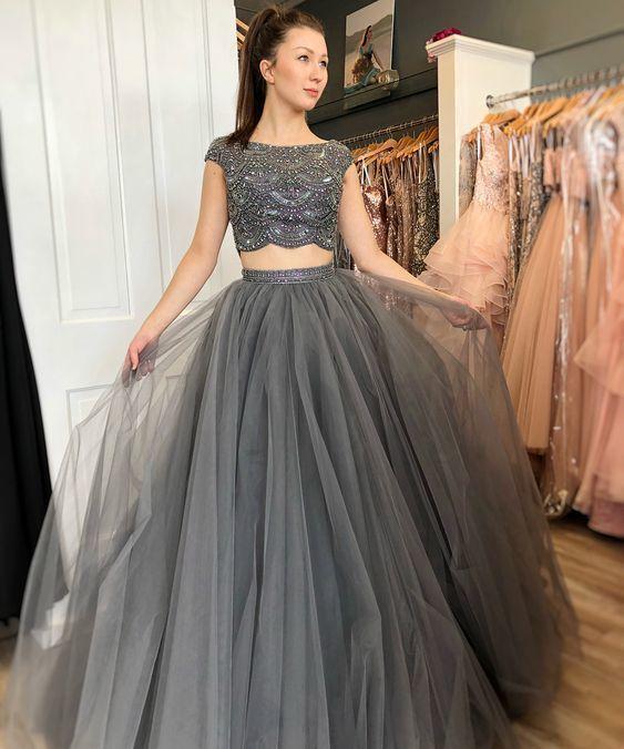 cap sleeve gray prom dresses long beaded luxury 2 piece elegant prom gown