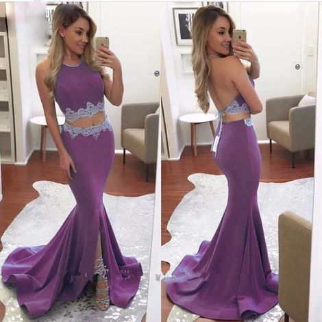 Sexy Halter Two Piece Prom Dresses Long High Slit Purple M828